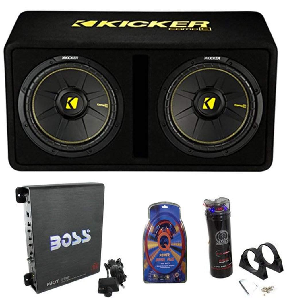 """5. Kicker 44DCWC122 12"""" 1200W Car Subwoofers Sub Enclosure + Amp + Capacitor + Wire"""