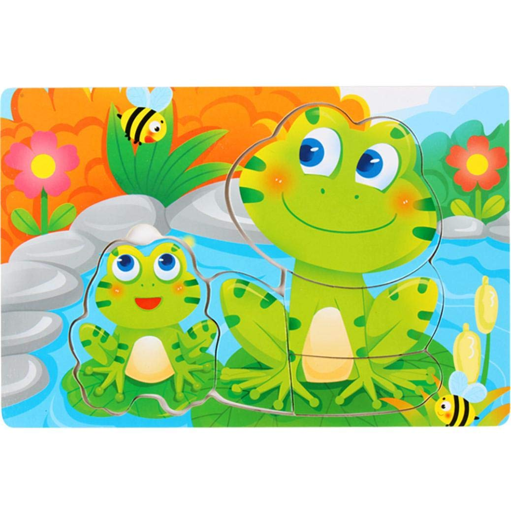 Jigsaw Puzzles Toy Vibola 3D Cute Painting Cartoon Wooden Drawing Board Animals Puzzle Child Educational Toy (B)