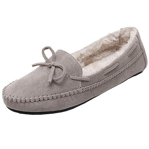 Mujer Mocasines Arco Gamuza Loafers Casual Zapatos de Conducción: Amazon.es: Zapatos y complementos