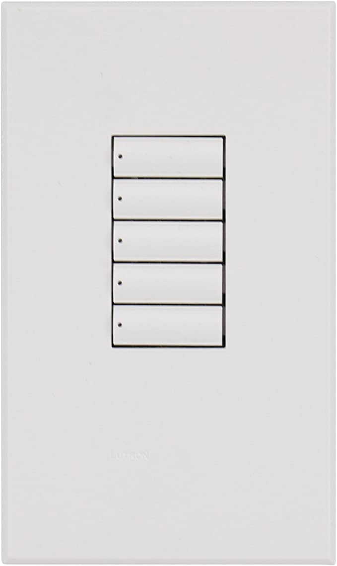 5 BUTTON SUBCONTROL KEYPAD WHITE LUTRON HomeWorks RKA W5BN-WH SEE-TOUCH QS