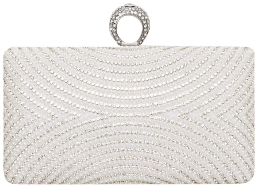 Curved Pearl and Crystal Minaudiere Style HBCARINA43, White