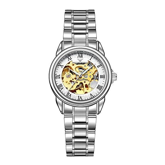 Moda Lujo Hueco Reloj Mecánico Automático Números Romanos Correa de Acero Inoxidable Relojes de Pulsera para Mujeres, Blanco-Plateado: Amazon.es: Relojes