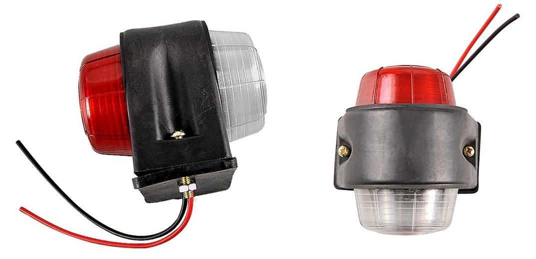Lot de 2 Feu de Gabarit PLAT ROUGE et BLANC 70mm Ampoule 12v Neuf