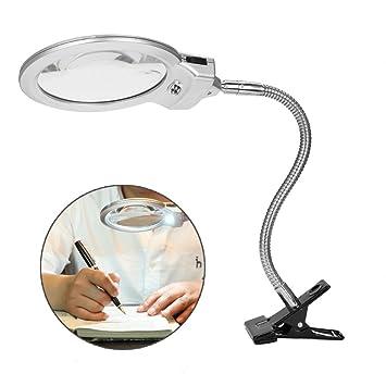 Lámpara de Lupa LED Plegable 5X Luz lupa para Escritorio Lectura Periódicos Soldadura Trabajo Reparación Maquillaje Tatuaje Manicura Pedicure y ect: ...