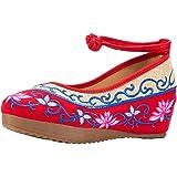 Lazutom - Zapatos de tipo informal para mujer, vintage, dise?o bordado de pintura a tinta de estilo chino, cómodos, para senderismo, color multicolor, talla 37 EU
