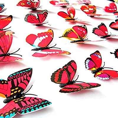 Amaonm 60 Pcs 5 Packages Beautiful 3D Butterfly Wall Decals Removable DIY Home Decorations Art Decor Wall Stickers & Murals for Babys Bedroom Tv Background Living Room (Red): Home Improvement