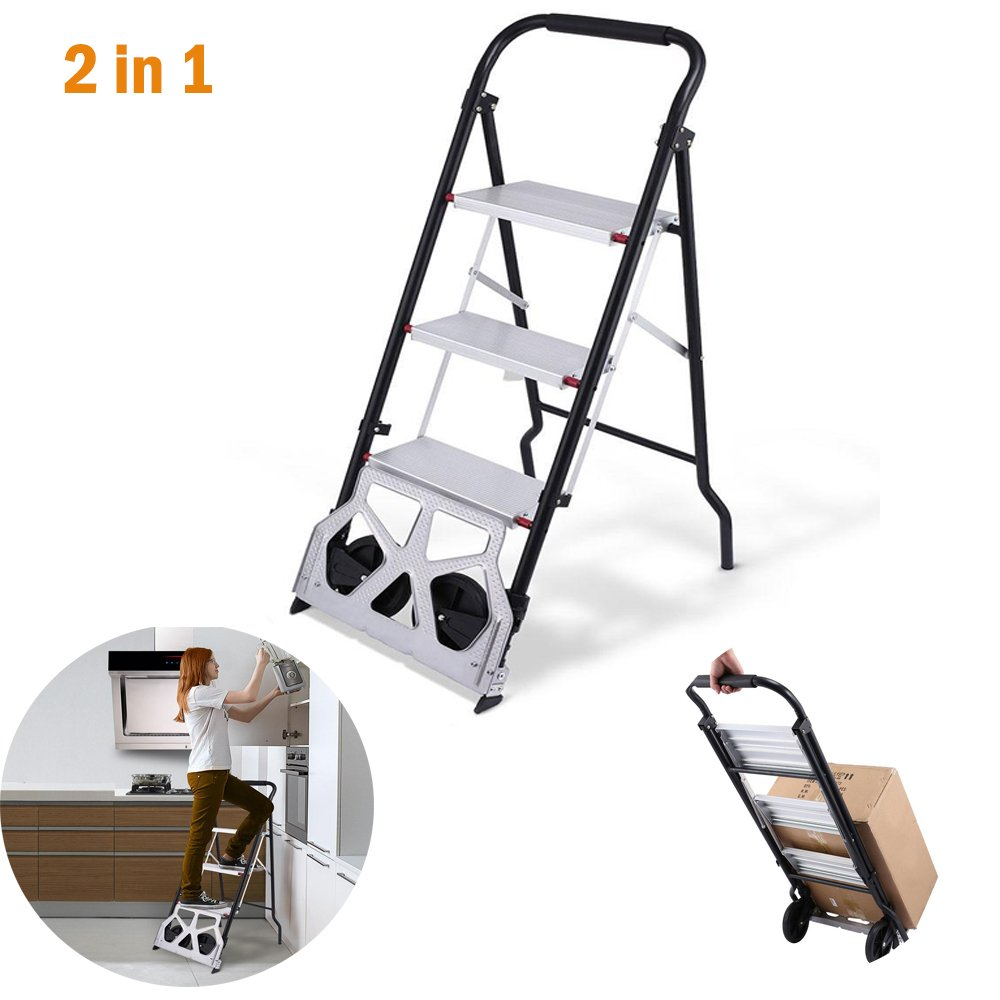 Rampmu Steps Ladder Cart 2 In 1 Convertible Dolly 3-Step Ladder Heavy Duty Folding Cart with Hand Grip - 330lbs Capacity