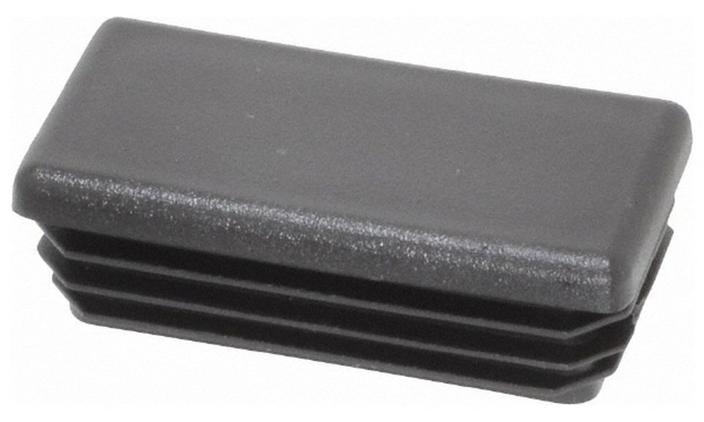 Rectangular Head Plug, 1x2 OD, Polyethylene, Black 50 Pack