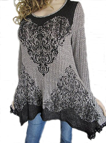 Fashion Vocal Women's Black Ivory Crochet Lace 1551A Stones Sexy Tunic Plus (1X)