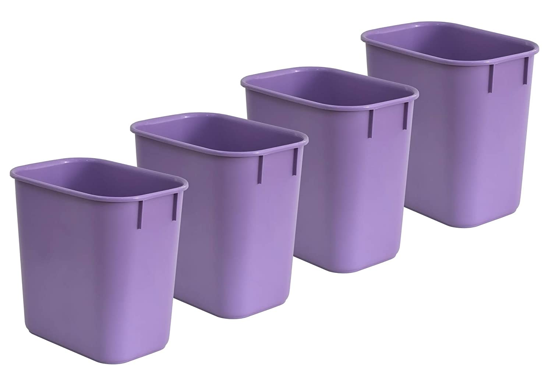 Acrimet Wastebasket 13QT Purple Color 4 Pack