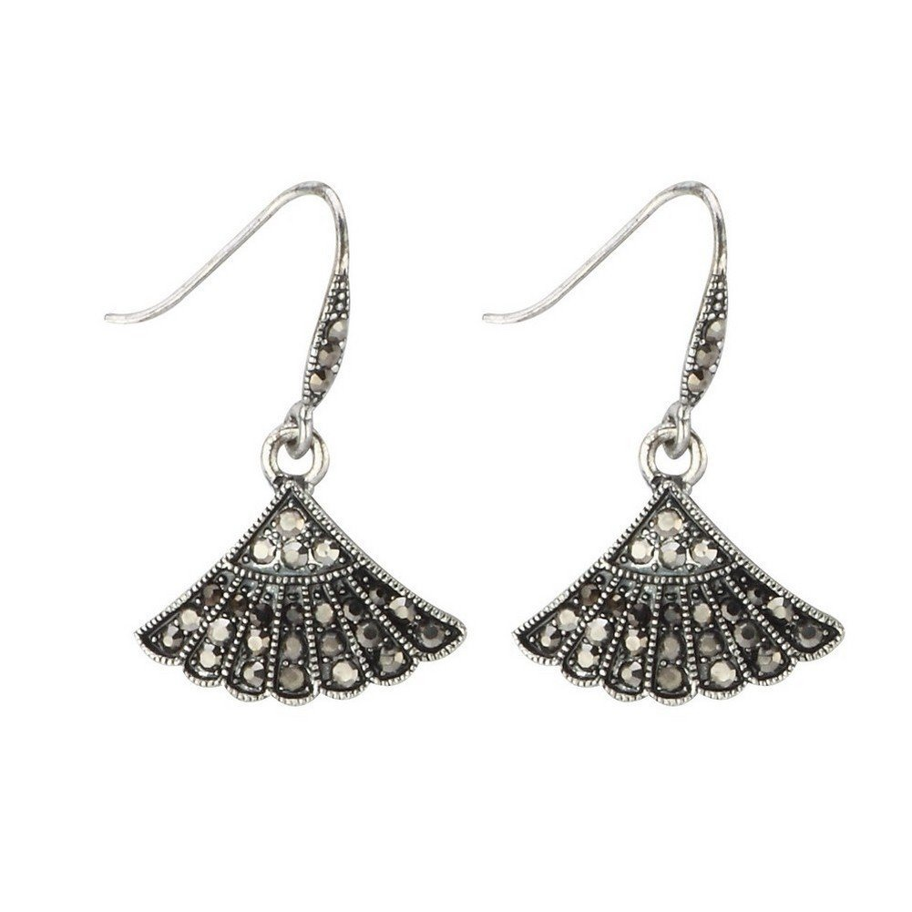 Drop Earring Marcasite Made With Crystal Glass /& Zinc Alloy by JOE COOL