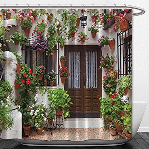 180X 180CM Spanish House Print Polyester Fabric Shower Curtain - 8