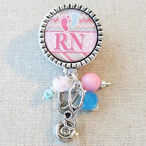 Labor and Delivery Nurse Badge Reel, OB/GYN Baby Feet Retractable Name Badge, RN Labor Delivery Nurse Thank You Gift, Rn Nursing Grad Gift