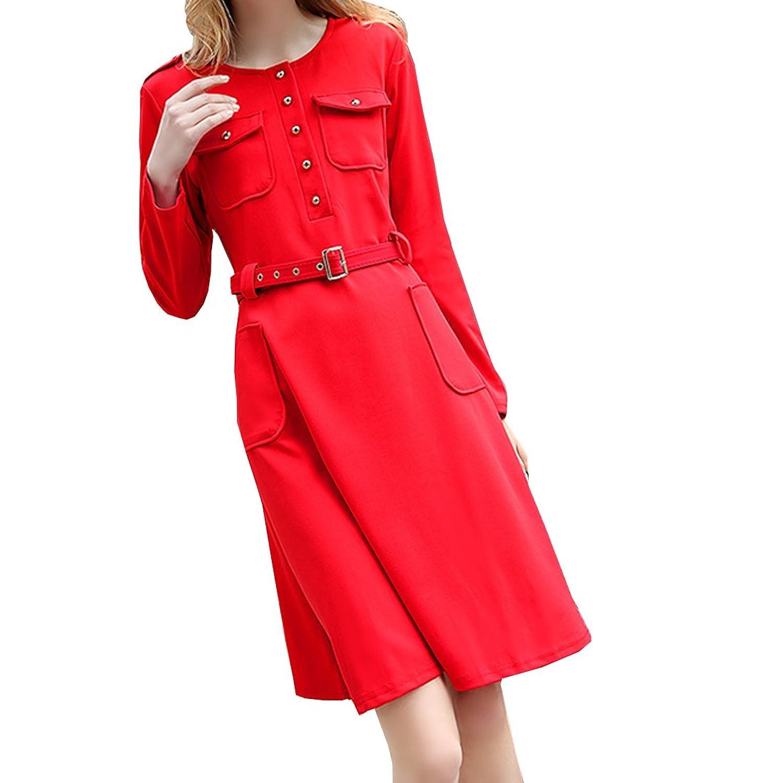 Partiss Damen Frauen U-Ausschnitt OL Business Knoepfe Einreihig Langarm Kleid Sommerkleid