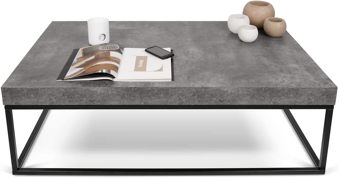 Efecto Cemento y Negro Mesa de caf/é 120 x 75 x 38 cm L-P-A TemaHome Petra 120 Madera