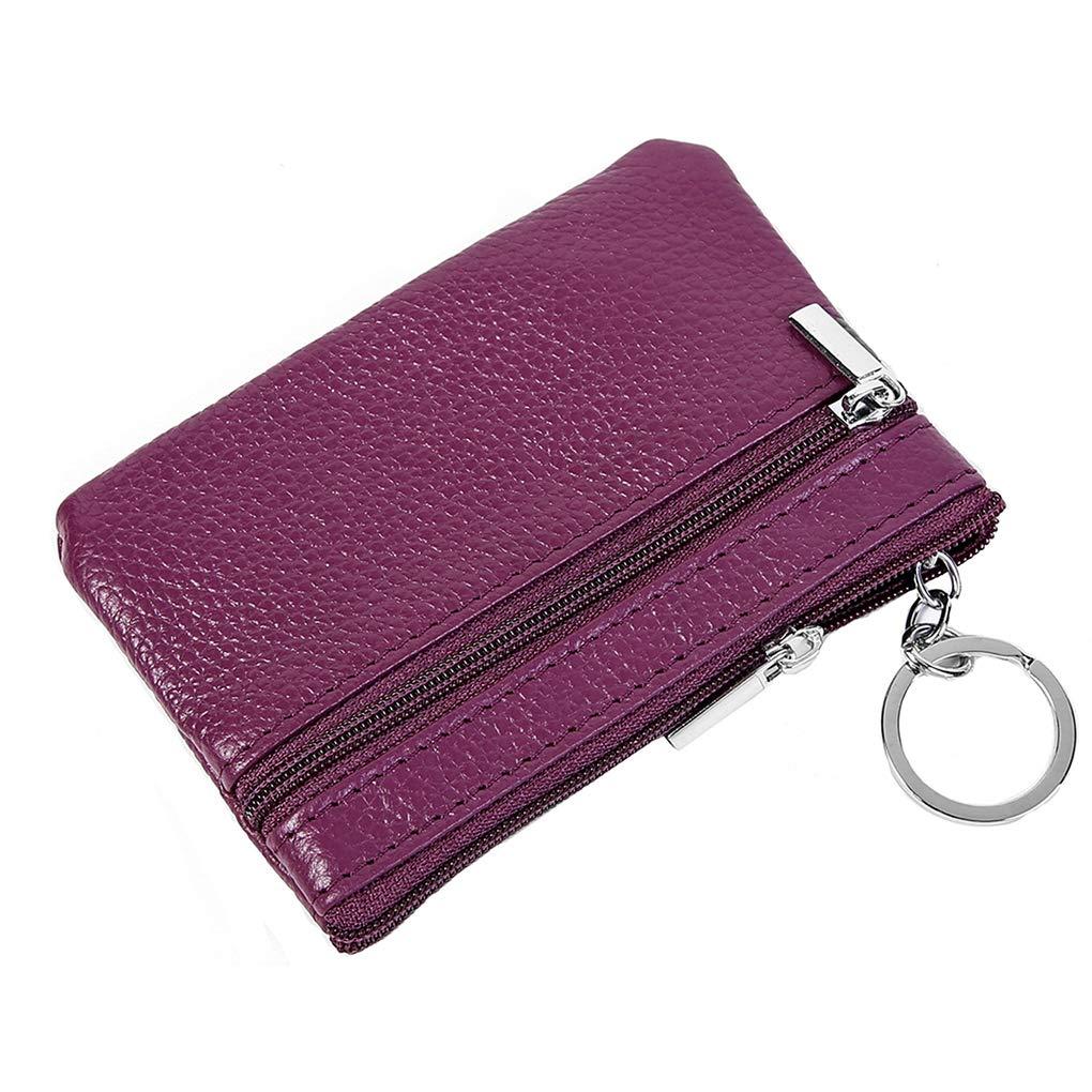 Rolin Roly女性コインウォレットIDカードホルダーレザーコインバッグ交換財布女性男性用11.4 x 7.4 cm(パープル)   B07HJ11696