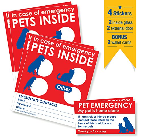 Emergency Pet Rescue Sticker - PETS RESCUE STICKERS x 4 with BONUS 'Pet Home Alone' WALLET CARDS x 2. Alert emergency first responders to pets inside home