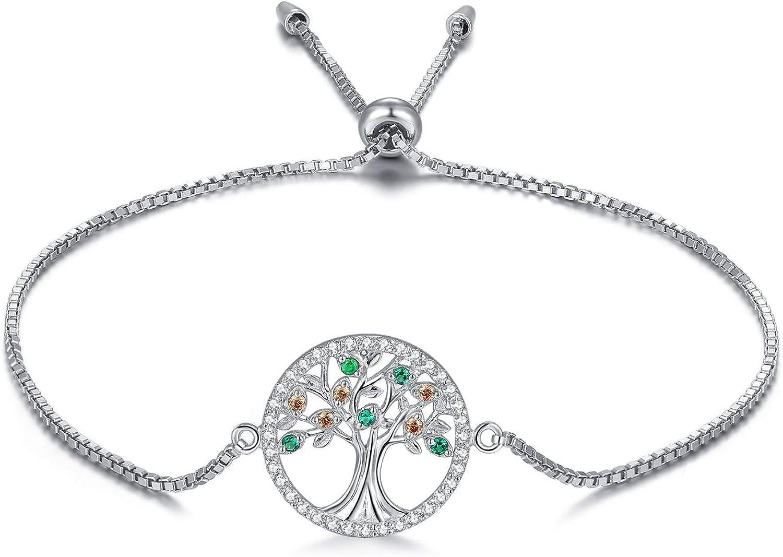 MEGA CREATIVE JEWELRY Pulseras Árbol de la Vida para Mujer Plata 925 con Cristales