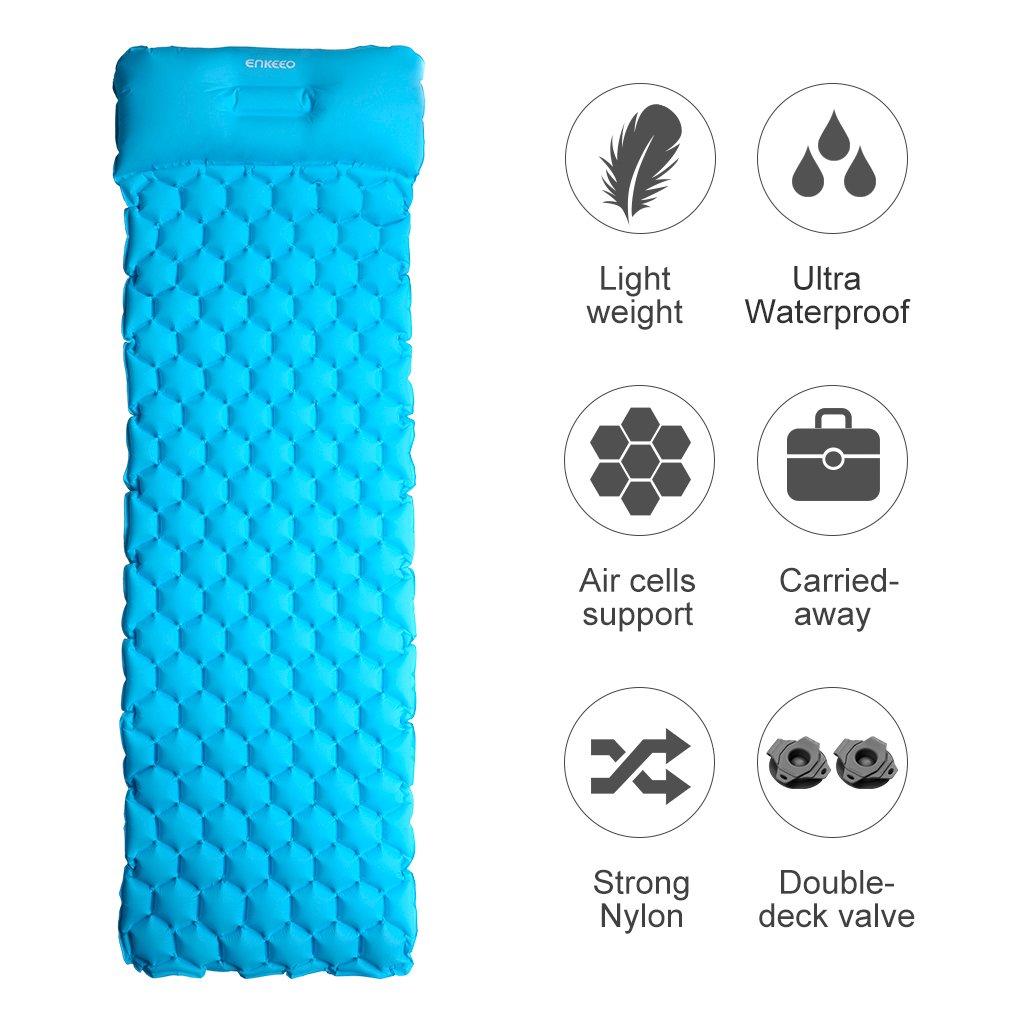 Hellblau Zelt und Outdoor Trekking ENKEEO Isomatte Ultraleicht Camping Luftmatratze Aufblasbare Schlafmatte wasserdicht mit Kissen 190 x 58 x 6 cm aus 40D TPU Nylon f/ür Camping
