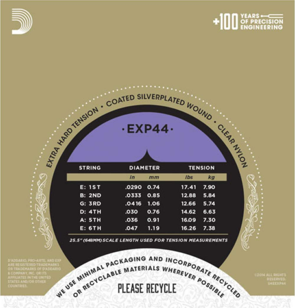 D'Addario EXP46 Coated Classical Guitar Strings, Hard Tension D'Addario &Co. Inc