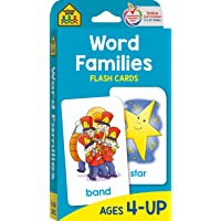 School Zone - Word Families Flash Cards - Ages 4 and Up, Preschool, Kindergarten, Beginning and Ending Sounds, Rhymes…