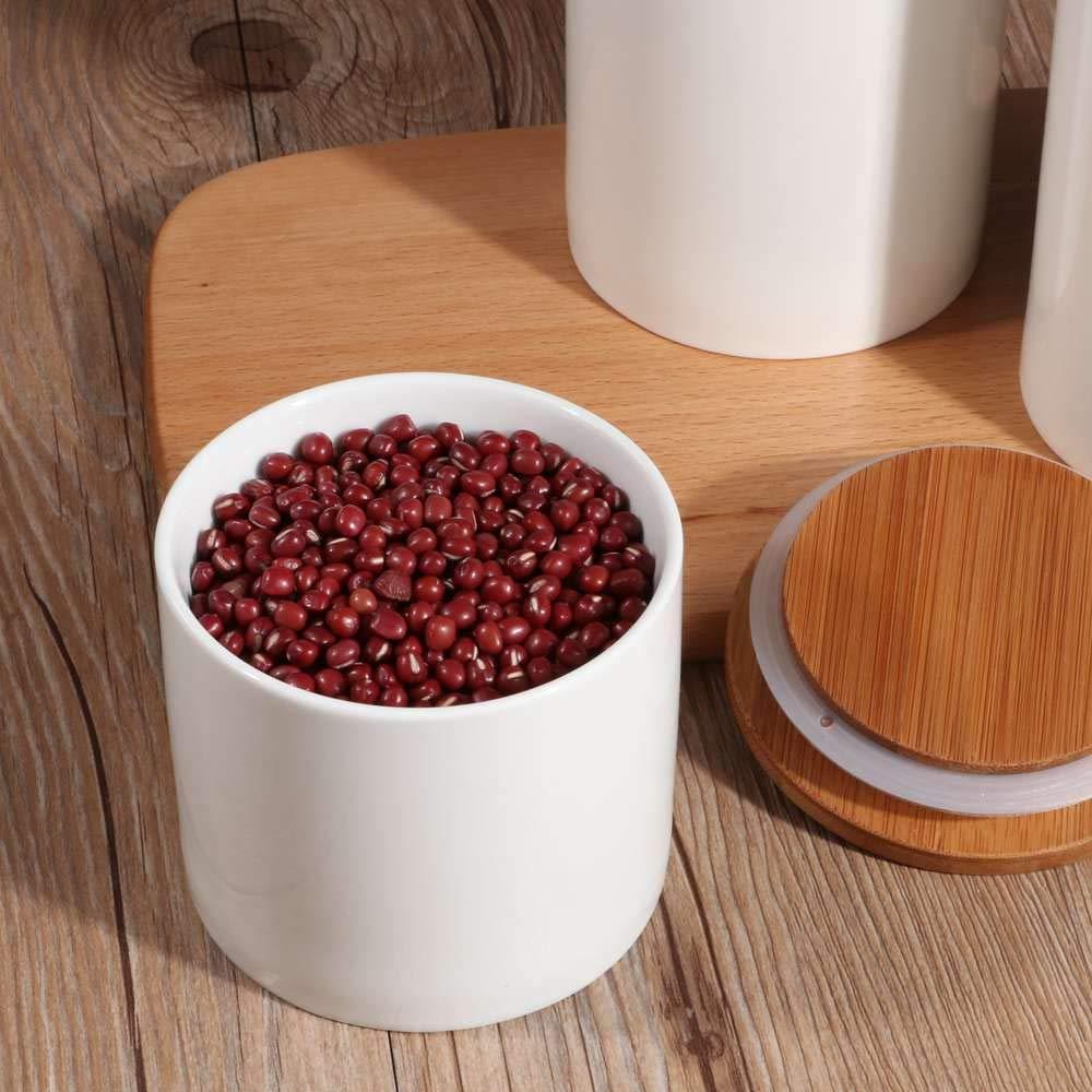 Keramik Aufbewahrungsdosen f/ür Tee Kaffee Bohne Zucker Gew/ürz N/üsse Korn OnePine 3er Set Vorratsdosen Keramik mit Bambusdeckel Vorratsdose Kaffeedose Teedose