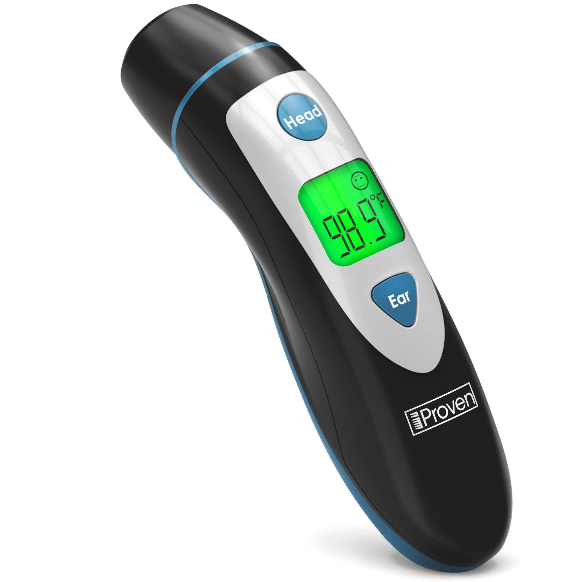 [New 2019 Model] iProven Thermometer for Fever - Forehead and Ear Thermometer - with Fever Alarm - Pouch and Batteries Included - Thermometer DMT-489Black by iProven