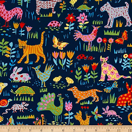 Michael Miller Our Yard Backyard Friends Midnite Fabric By The ()