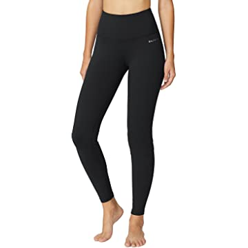 Baleaf Women's High Waist Yoga Pants Non See-Through Fabric Black Size L