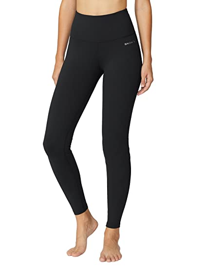 f5cf55c034b9a Baleaf Women's High Waist Yoga Pants Non See-Through Fabric Black Size S