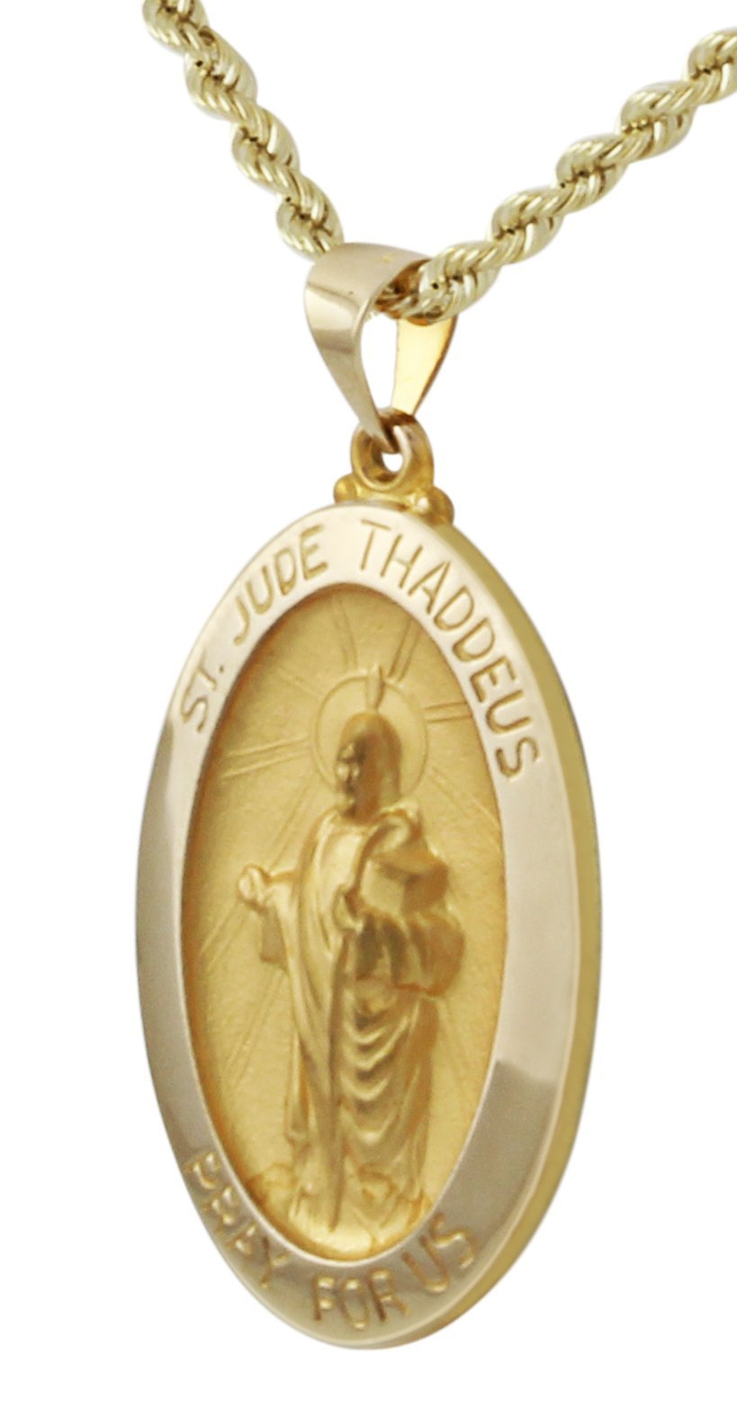 US Jewels And Gems 1in Oval 14k Yellow Gold Hollow St Saint Jude Thaddeus Medal Pendant Necklace