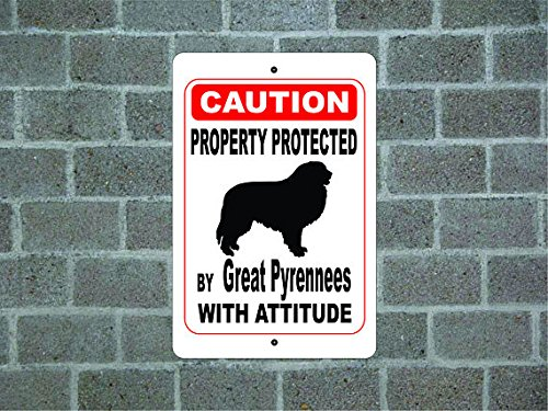 Mentalsign Property protected by Great Pyrenees guard dog warning yard fence breed metal aluminum (Great Pyrenees Welcome Sign)
