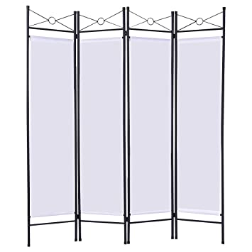 Giantex 4 Panel Room Divider Privacy Screen Home Office Fabric Metal Frame White