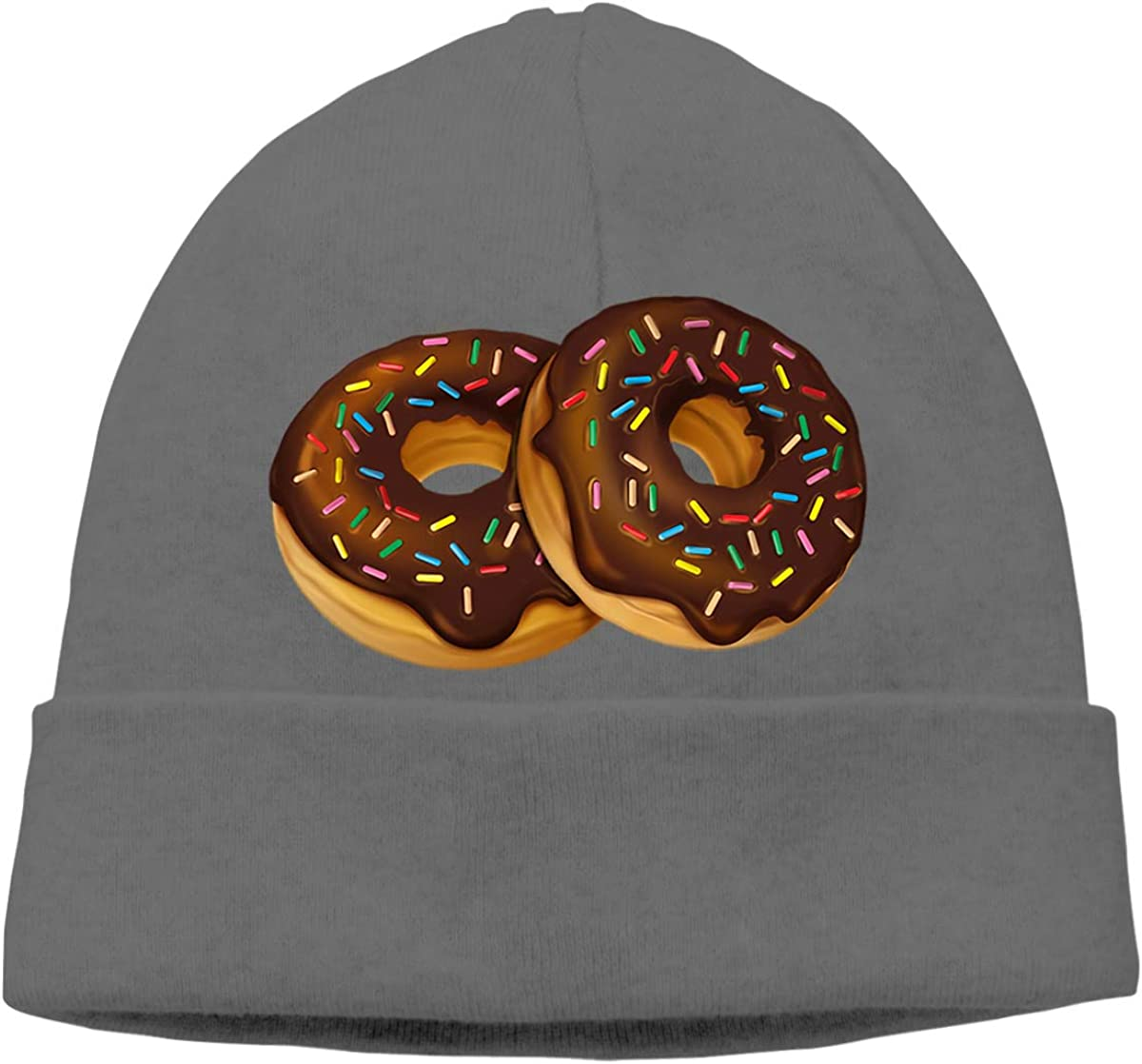Delicious Donuts Chocolate Toping Unisex Cuffed Plain Skull Knitted Hat Beanie Cap Men Women Black