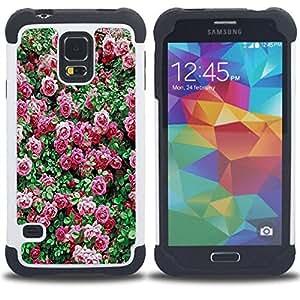 /Skull Market/ - Rose Pink Flower Romantic Love Heart For Samsung Galaxy S5 I9600 G9009 G9008V - 3in1 h????brido prueba de choques de impacto resistente goma Combo pesada cubierta de la caja protec -