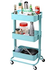 Rackaphile 3-Tier Utility Cart , Heavy-Duty Rolling Storage Cart with Mesh Basket, Multi-Purpose Metal Trolley Organizer Cart with Casters for Bathroom Kitchen Kids' Room Laundry Room, Blue