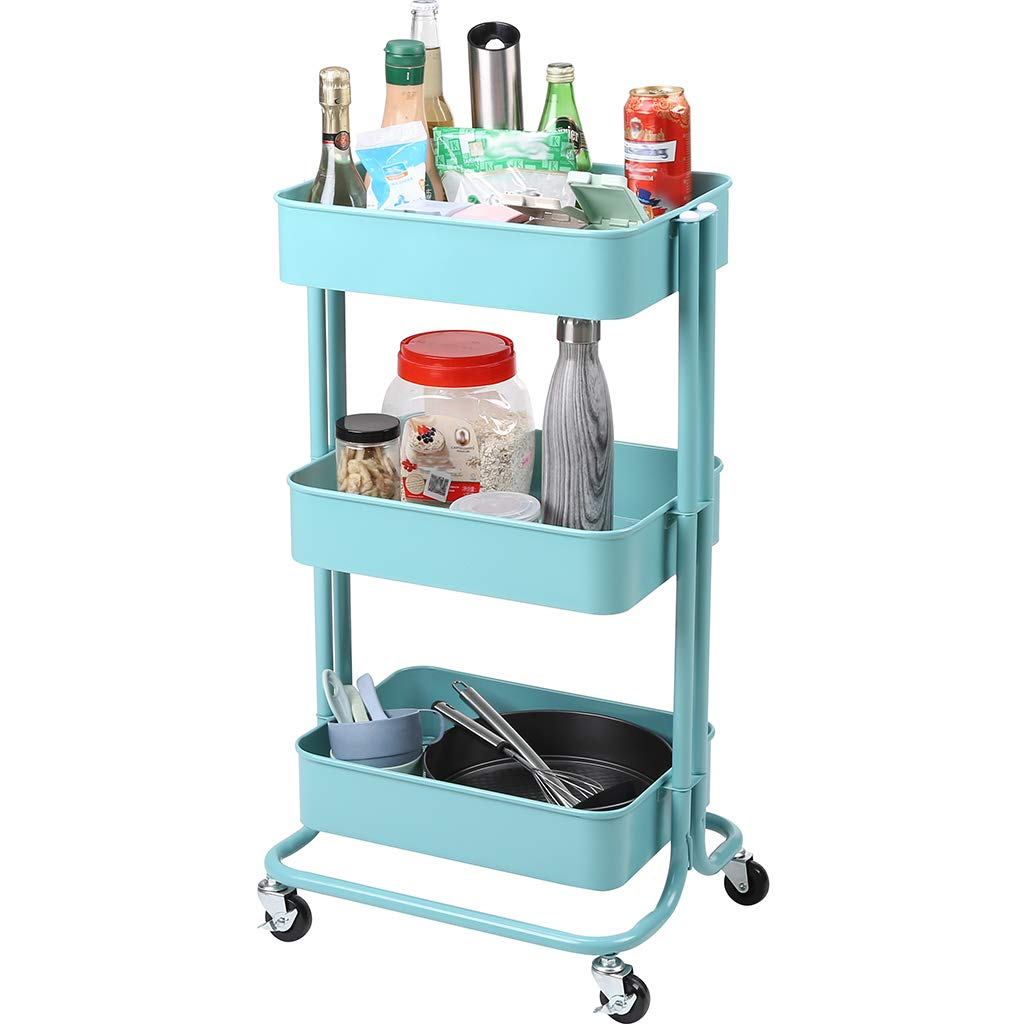 Racksphile 3-Tier Metal Rolling Storage Cart Multifunction Heavy Duty Rolling Utility Cart with Lockable Wheels Mesh Baskets Trolley Organizer Cart for Bathroom Kitchen Kids' Room Laundry Room (Blue) by Rackaphile