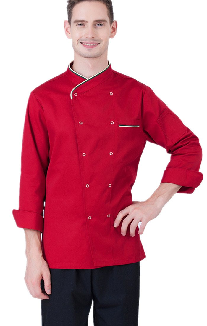 XinAndy 3 Colors Press Button Chef Coats Long sleeves Men Women Unisex