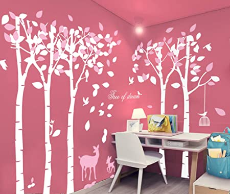 Pink Gray No Deer T:Gray/_77/_47/_48 Grey Tree Decal Baby Room Tree Decals Pink Nursery Decor Nature/_Trees