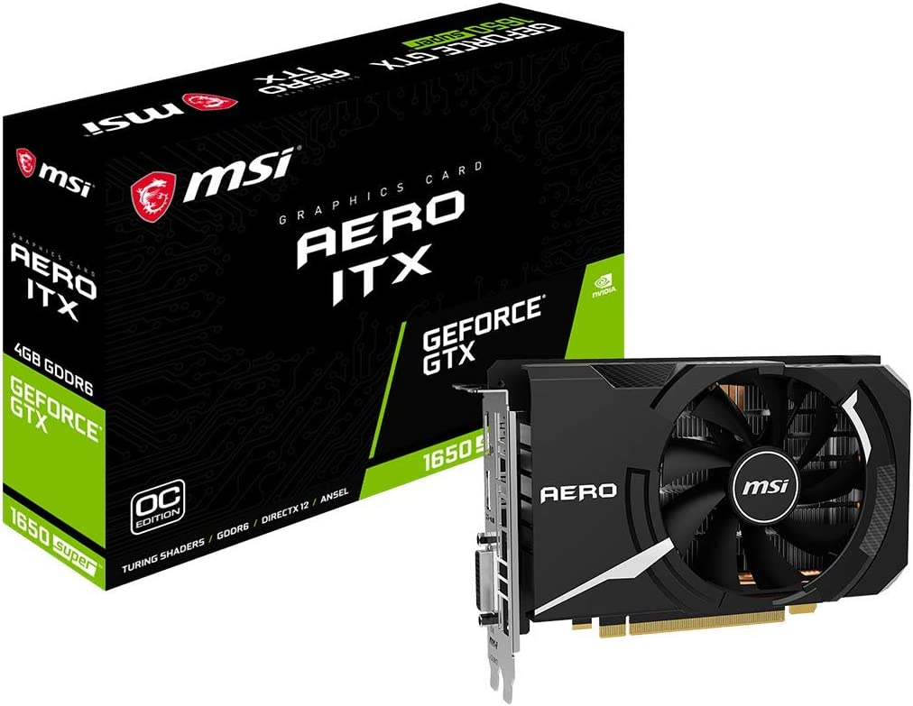 MSI Gaming GeForce GTX 1650 Super 128-Bit HDMI/DP/DVI 4GB GDRR6 HDCP Support DirectX 12 Single Fan VR Ready OC Graphics Card (GTX 1650 Super Aero ITX OC) (GeForce GTX 1650 Super AERO ITX OC)
