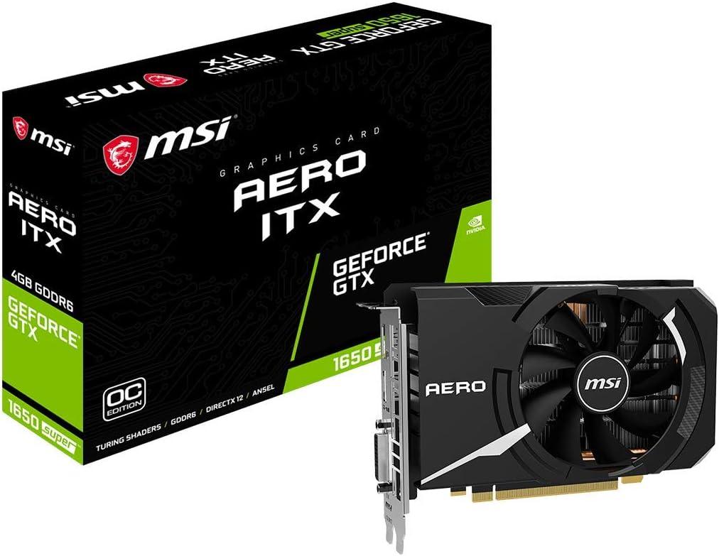 MSI Gaming GeForce GTX 1650 Super 128-Bit HDMI/DP/DVI 4GB GDRR6 HDCP Support DirectX 12 Single Fan VR Ready OC Graphics Card (GTX 1650 Super Aero ITX OC) (GeForce GTX 1650 Super AERO ITX OC)