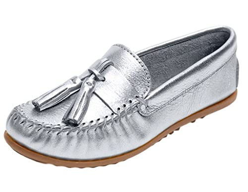 Minnetonka Women's Grace Moc Silver Leather Flat