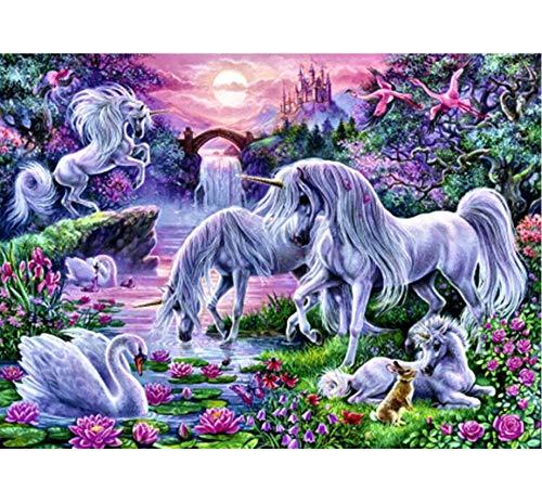 (YUMEART Fantasy Cartoon Unicorns in The Sunset Glow DIY Diamond Painting Kit Cross Stitch Mosaic Needlework Children Room Decorations)