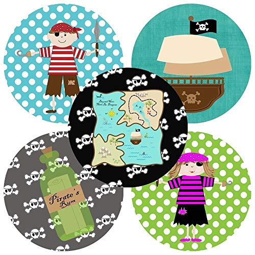 Pirate Sticker Labels for Kids - Boy Girl Birthday Baby Shower Party Favor Labels - Set of 50