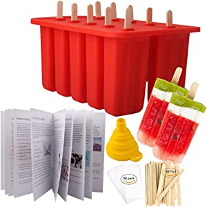 Homemade Popsicle Molds Shapes, Food Grade Silicone Frozen Ice Popsicle Maker-BPA Free, with 50 Popsicle Sticks, 50 Popsicle Bags, Funnel and Ice Pop Recipes(10 Cavities)