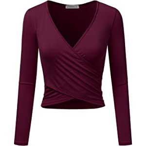 0c4b7afe149 JJ Perfection Women's Long Sleeve Deep V Neck Unique Cross Wrap Crop Top