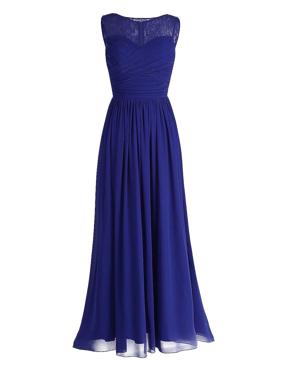 iEFiEL Damen Kleid festlich Kleider Hochzeit elegant Abendkleid Cocktailkleid Chiffon Langes Brautjungfernkleid 34-46
