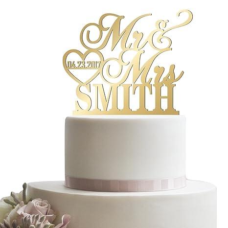 Amazon personalized wedding cake topper mr mrs heart customized personalized wedding cake topper mr mrs heart customized wedding date and last name to be bride junglespirit Choice Image