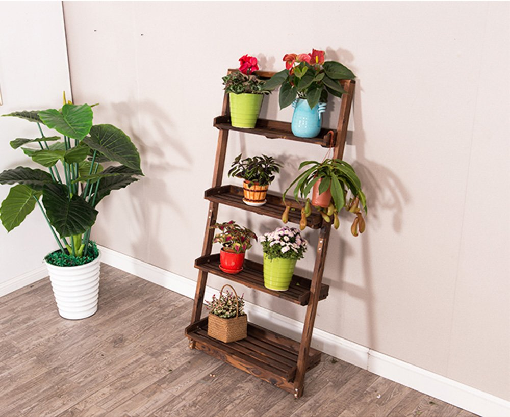 TYCGY Wooden Multi-layer Trapezoidal Creative Four-story Wall Potted Shelf Removable
