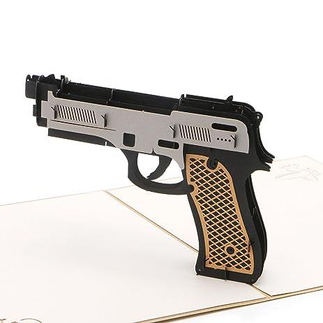 Amazon Handmade 3d Pop Up Gun Greeting Card Bottone Merry